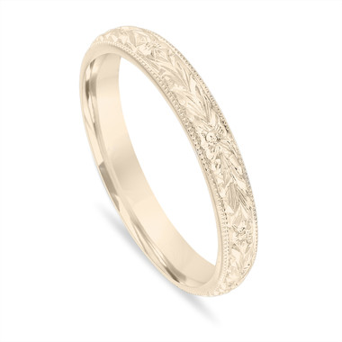 Gold Wedding Band, Hand Engraved Wedding Ring, Vintage Wedding Band, 3 mm Anniversary Band, Unique Wedding Band, 14k Yellow Gold Handmade