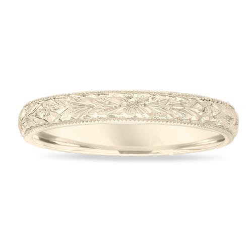 18k Yellow Gold Wedding Band, Hand Engraved Wedding Ring, Vintage Wedding Band, 3 mm Anniversary Band, Unique Wedding Band, Handmade