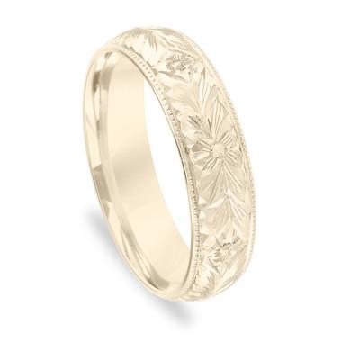 Unique Men's Wedding Band, Hand Engraved Wedding Ring, Vintage Wedding Band, Antique Wedding Band 6 mm 14K Yellow Gold Handmade