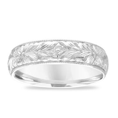 Hand Engraved Men's Wedding Band, Platinum Wedding Ring, Vintage Wedding Band, Unique Wedding Band, Antique Wedding Band 6 mm Handmade