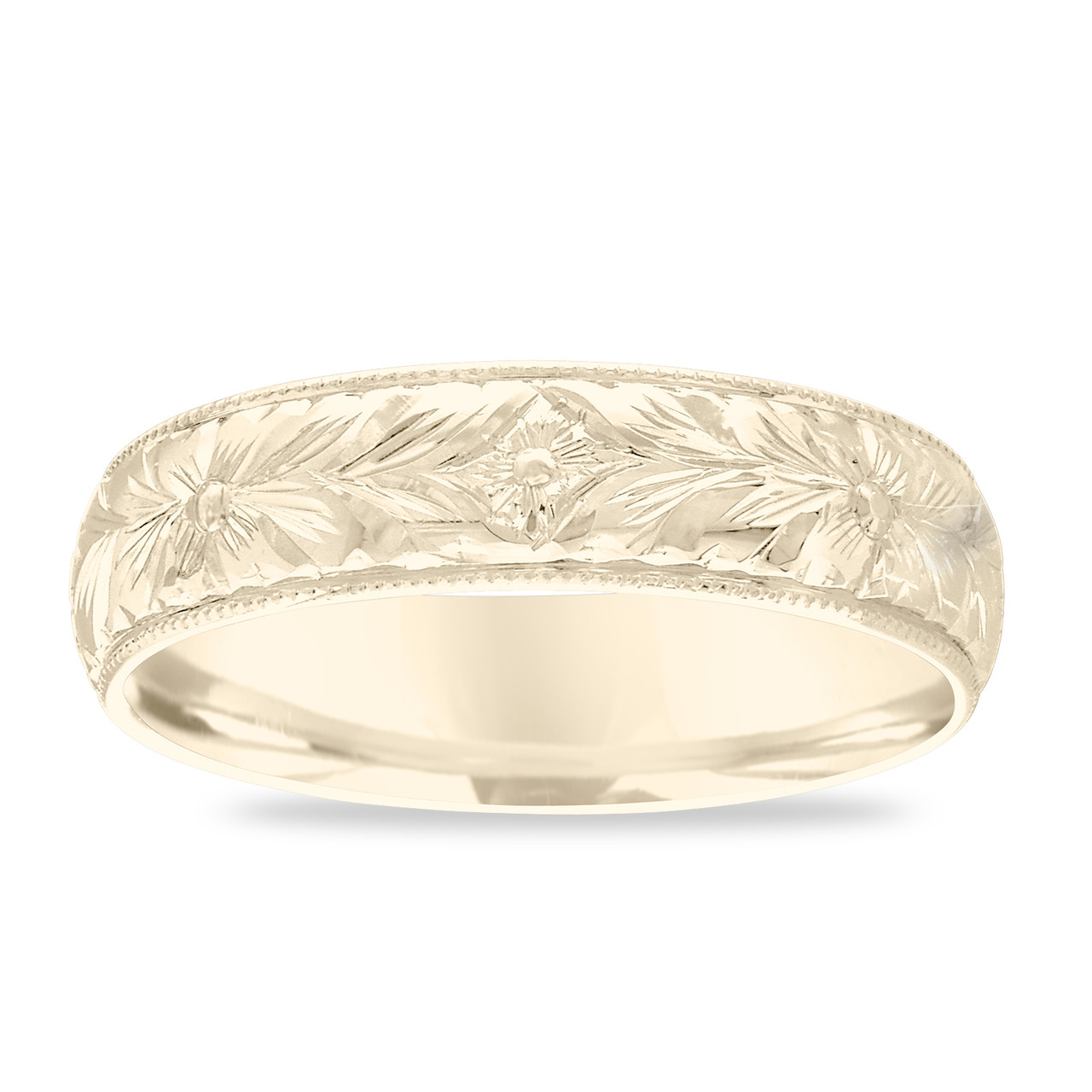Hand Engraved Wedding Band, 18K Gold Men\u0027s Wedding Ring, Vintage Wedding  Band, Antique Yellow Gold Wedding Band 6 mm Unique Handmade