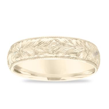 Hand Engraved Wedding Band, 18K Gold Men's Wedding Ring, Vintage Wedding Band, Antique Yellow Gold Wedding Band 6 mm Unique Handmade