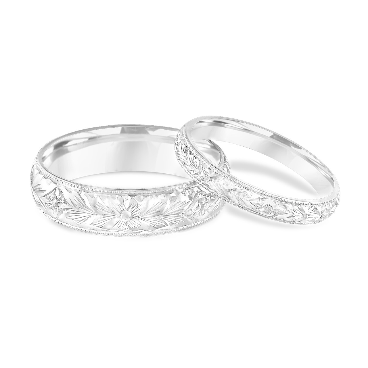 His And Hers Wedding Bands Hand Engraved Matching Wedding Rings