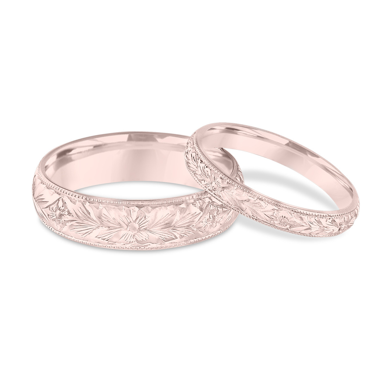 Rose Gold Wedding Ring.His Hers Wedding Bands Hand Engraved Wedding Bands Rose Gold Matching Rings Couple Wedding Bands Set Vintage Wedding Ring Unique