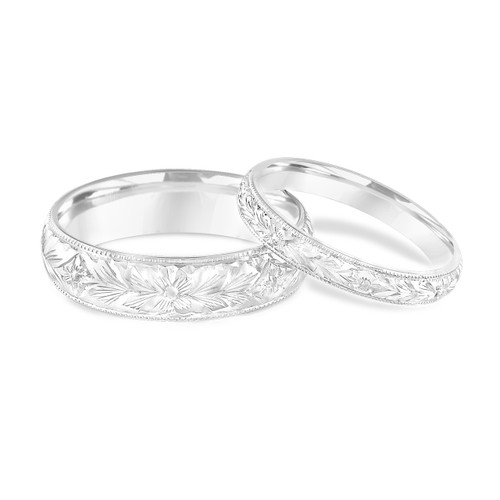 Platinum Matching Wedding Rings, His and Hers Wedding Bands, Hand Engraved, Couple Wedding Bands Set, Vintage Wedding Bands, Handmade