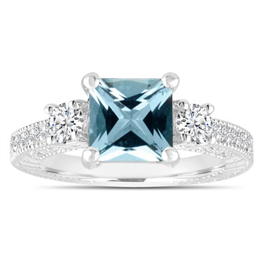 Aquamarine Engagement Ring, Diamond Bridal Ring, Princess Cut Vintage Engagement Ring, Antique Style Engraved 1.88 Carat 14K White Gold