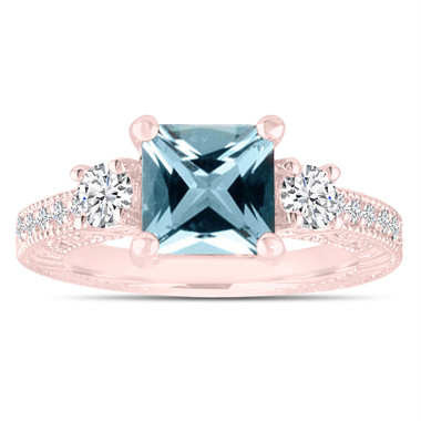 Princess Cut Aquamarine Engagement Ring, Rose Gold Diamond Bridal Ring, Vintage Engagement Ring, Antique Style Engraved 1.88 Carat