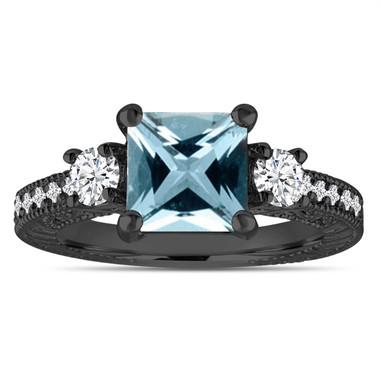 Blue Aquamarine Engagement Ring, Vintage Engagement Ring, Diamond Bridal Ring, Princess Cut Engagement Ring, 14K Black Gold 1.88 Carat