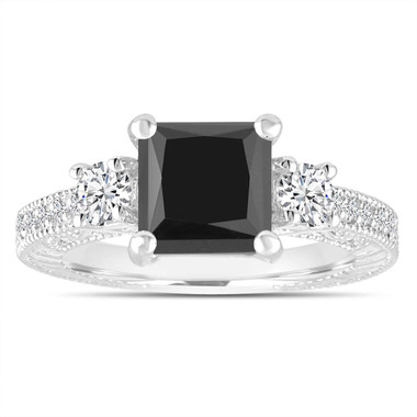 Black Diamond Engagement Ring, Three Stone Bridal Ring, Princess Cut Ring, 2.28 Carat 14K White Gold Vintage Antique Style Engraved Handmade