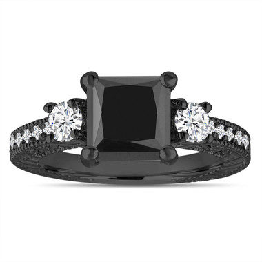 Vintage Engagement Ring, Princess Cut Black Diamond Three Stone Engagement Ring, Unique Bridal Ring, 2.28 Carat 14K Black Gold Handmade