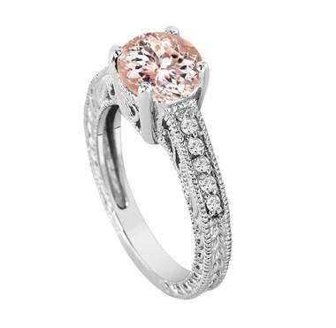Morganite Engagement Ring, With Diamonds Bridal Ring, Pink Peach Morganite Engagement Ring, 1.50 Carat 14K White Gold Vintage Style Handmade