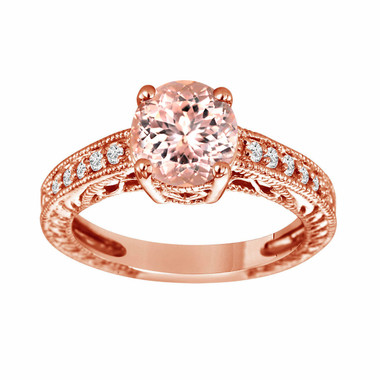 Morganite Engagement Ring Rose Gold, With Diamonds Bridal Ring, Pink Peach Morganite Engagement Ring, 1.50 Carat Vintage Style Handmade Pave