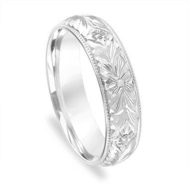 Hand Engraved Wedding Band, Mens Vintage Wedding Ring, 5 mm Womens Wedding Band, Unique Antique Wedding Band, 14K White Gold Handmade