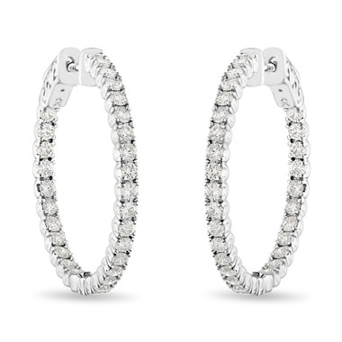 Diamond Hoop Earrings, 2.10 Carat Inside Out Diamond Hoop Earrings, 1 Inch Diamond Hoop Earrings, 14K White Gold Certified