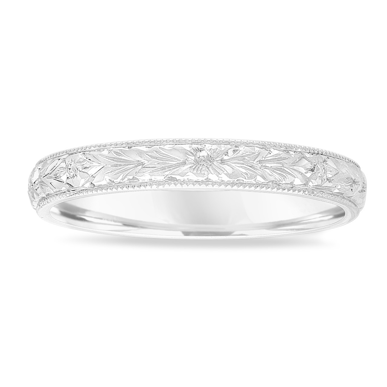This is a photo of Hand Engraved Wedding Band 47K White Gold, Vintage Wedding Ring