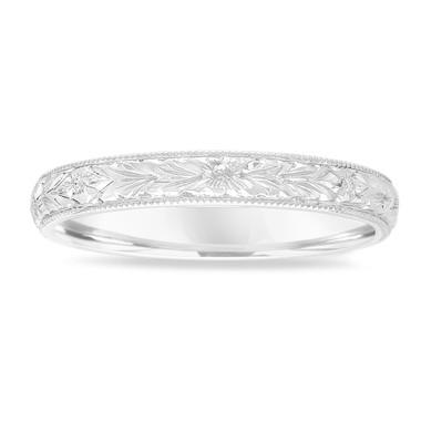 Hand Engraved Wedding Band 18K White Gold, Vintage Wedding Ring, Womens Wedding Band, Unique Wedding Band, 3 mm Anniversary Band Handmade