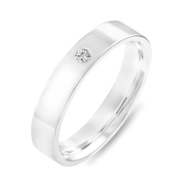 Diamond Wedding Band, Diamond Wedding Ring, Womens Wedding Band, Mens Flat Wedding Band, 4 mm Anniversary Ring, 14K White Gold Handmade