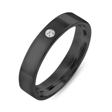 Vintage Diamond Wedding Ring, Diamond Wedding Band, Womens Wedding Band, Mens Wedding Band, 4 mm Anniversary Ring, 14K Black Gold Handmade
