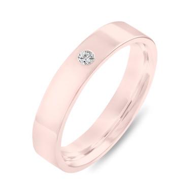 Diamond Wedding Band Rose Gold, Diamond Wedding Ring, Solitaire Engagement Ring, Mens Flat Wedding Band, 4 mm Anniversary Ring, Handmade