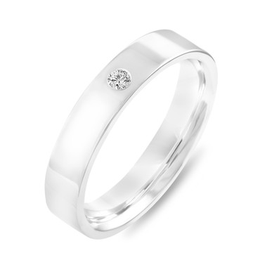 Platinum Diamond Wedding Ring, Diamond Wedding Band, Womens Wedding Band, Mens Flat Wedding Band, 4 mm Anniversary Ring, Handmade