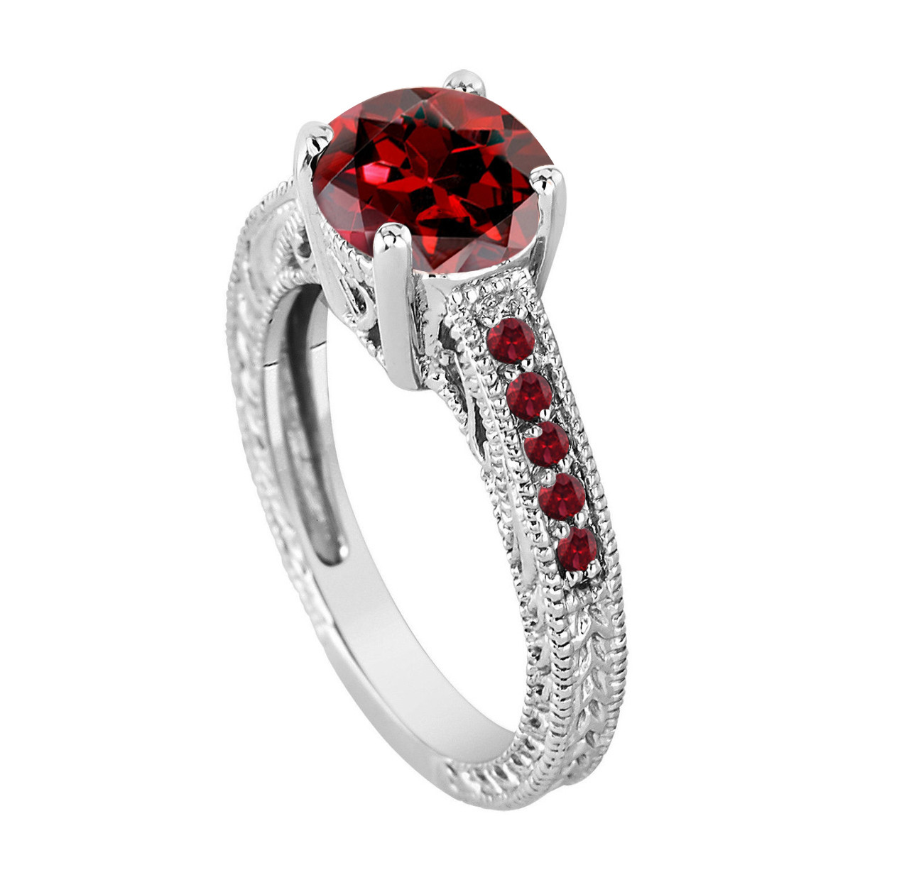 Red Garnet Engagement Ring, Garnet Bridal Ring, Engraved Wedding Ring  Birthstone Ring Unique Vintage 14K White Gold 2 25 Carat Pave Handmade