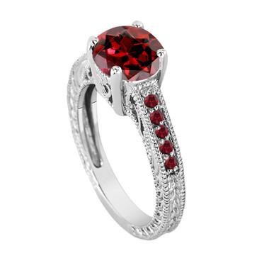 Red Garnet Engagement Ring, Garnet Bridal Ring, Engraved Wedding Ring Birthstone Ring Unique Vintage 14K White Gold 2.25 Carat Pave Handmade