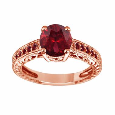 Garnet Engagement Ring Rose Gold, Garnet Wedding Ring, Engraved Bridal Ring, Birthstone Ring, Unique Vintage 2.25 Carat Pave Handmade