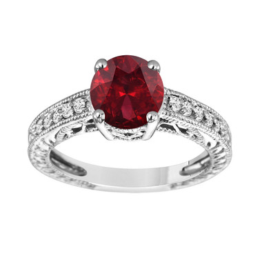 Garnet Engagement Ring, Garnet and Diamonds Bridal Ring, Engraved Wedding Ring Birthstone Unique Vintage 14K White Gold 2.15 Carat Handmade
