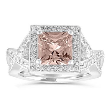 Morganite Engagement Ring, Princess Cut Wedding Ring, Diamond Bridal Ring, Unique Halo Pave 2.30 Carat Certified 14k White Gold Handmade