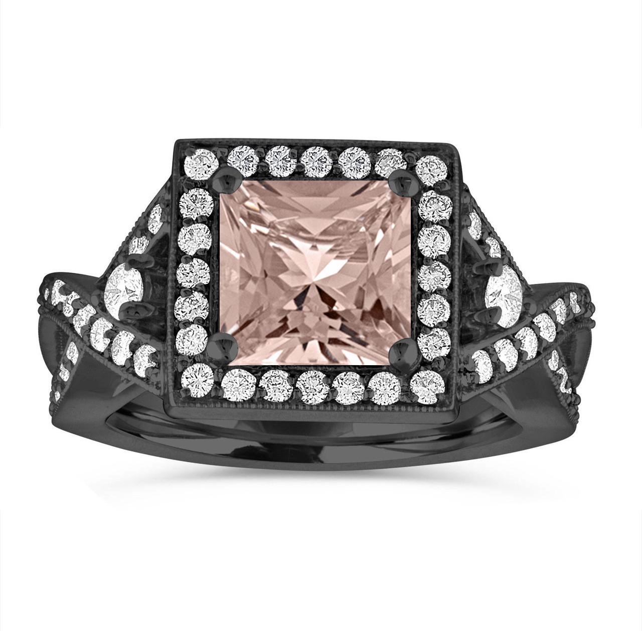0b42f436084a8 Princess Cut Morganite Engagement Ring, Vintage Wedding Ring, Bridal  Diamond Ring, 14K Black Gold Unique Halo 2.30 Carat Certified Handmade