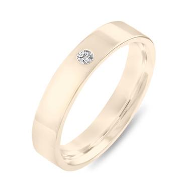 Diamond Wedding Band 18K Yellow Gold, Diamond Wedding Ring, Womens Wedding Band, Mens Flat Wedding Band, 4 mm Anniversary Ring, Handmade