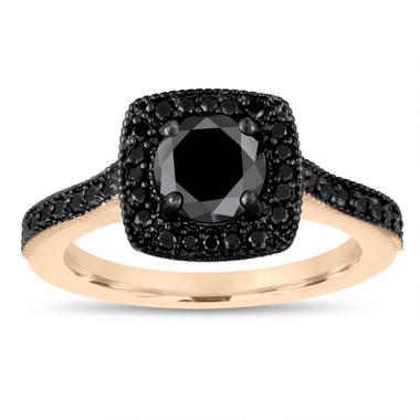Black Diamond Engagement Ring 18K Yellow Gold, Halo Engagement Ring, Pave Bridal Ring, Unique Wedding Ring, 1.28 Carat Certified Handmade
