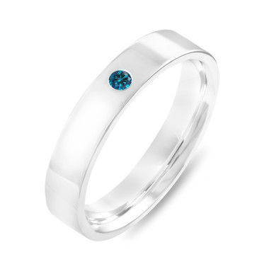Blue Diamond Wedding Ring, Diamonds Wedding Band, Unisex Wedding Band, Mens Flat Wedding Band 4 mm Anniversary Band 14K White Gold Handmade