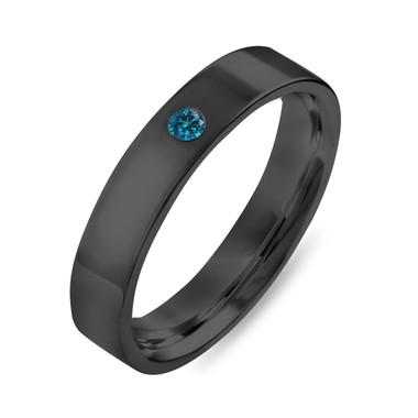 Black Gold Wedding Ring, Blue Diamond Wedding Band, Vintage Wedding Band, Mens Flat Wedding Band 4 mm Anniversary Band, Handmade
