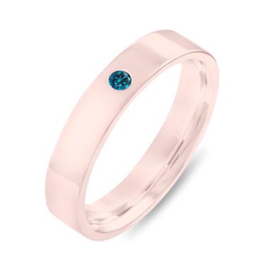 Blue Diamond Wedding Band Rose Gold, Diamonds Wedding Ring, Unisex Wedding Band, Mens Wedding Band, 4 mm Anniversary Solitaire Ring Handmade