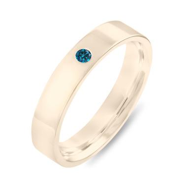 Blue Diamond Wedding Band Yellow Gold, Diamonds Wedding Ring, Unisex Wedding Band, Mens Wedding Band, 4 mm Gold Anniversary Ring, Handmade