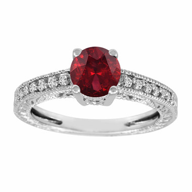 Garnet Engagement Ring White Gold, Red Garnet Wedding Ring, Garnet and Diamonds Bridal Ring Vintage Style 1.14 Carat Birthstone Handmade
