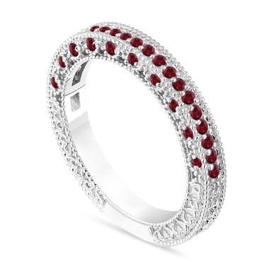 Garnet Wedding Band, Garnet Wedding Ring, Vintage Engraved Ring, Anniversary Ring, 14K White Gold Antique Style Unique Handmade 0.38 Carat