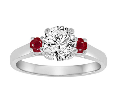 Diamond and Rubies Engagement Ring, Three Stone Engagement Ring, GIA Certified 1.04 Carat Wedding Ring 14K White Gold Handmade