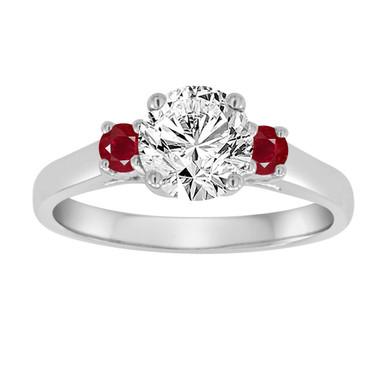 Platinum Engagement Ring, Diamond and Rubies Engagement Ring, Three Stone Engagement Ring, GIA Certified 1.04 Carat Bridal Ring, Handmade