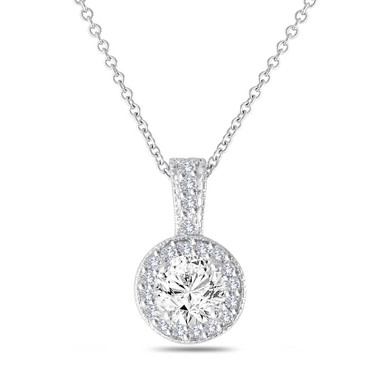 1.23 Carat Diamond Pendant, Diamond Necklace, Halo Pendant, GIA Certified 14K White Gold Pave Handmade