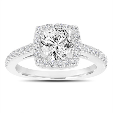 Diamond Engagement Ring, Halo Engagement Ring, 1.38 Carat F SI1 18K White Gold Gia Certified Bridal Ring, Pave Wedding Ring, Handmade