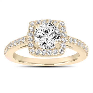 Diamond Engagement Ring 18K Yellow Gold, Halo Engagement Ring, 1.38 Carat F SI1 Gia Certified Bridal Ring, Pave Wedding Ring, Handmade
