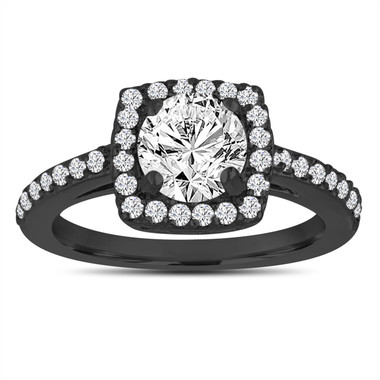 Halo Engagement Ring, Vintage Diamond Engagement Ring, Bridal Ring, 1.38 Carat G SI1 18K Black Gold Gia Certified Pave Handmade