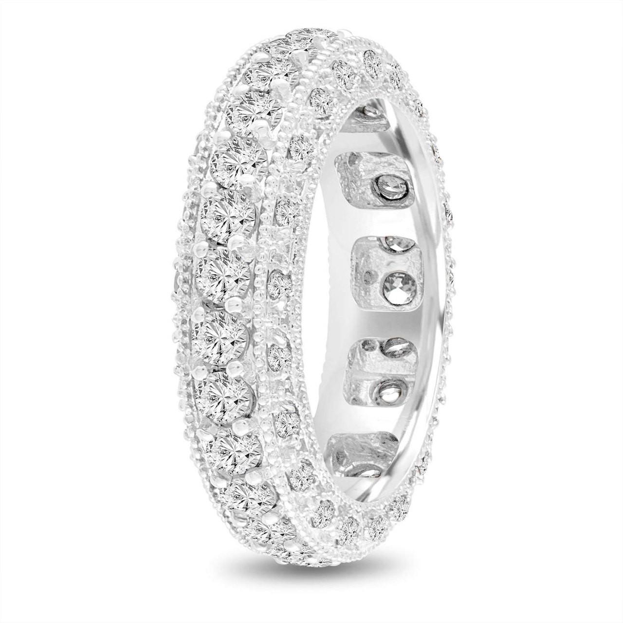 Eternity Diamond Wedding Ring Mens Diamond Wedding Band Vintage Wedding Band 6 Mm Unique Wedding Band 14k White Gold 2 50 Carat Handmade