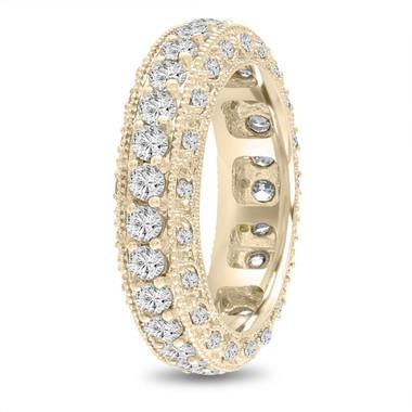 Eternity Diamond Wedding Band Yellow Gold, Mens Diamond Wedding Ring, Vintage Wedding Band, 6 mm Unique Wedding Band, 2.50 Carat Handmade