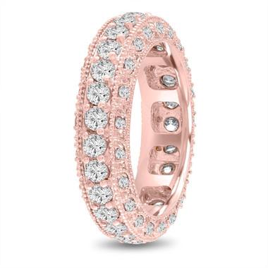 Unique Eternity Diamond Wedding Ring, Mens Diamond Wedding Band Rose Gold, Vintage 6 mm 2.50 Carat Handmade