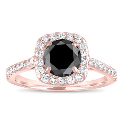 Black Diamond Engagement Ring Rose Gold, Cushion Halo Engagement Ring, Diamond Wedding Ring 1.60 Carat Unique Bridal Pave Certified Handmade
