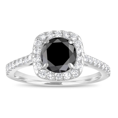 Cushion Cut Engagement Ring, Black Diamond Engagement Ring, Diamond Bridal Ring, 18K White Gold 1.60 Carat Unique Pave Certified Handmade
