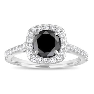 Platinum Cushion Cut Engagement Ring, Black Diamond Engagement Ring, Halo Engagement Ring, 1.60 Carat Unique Pave Certified Handmade